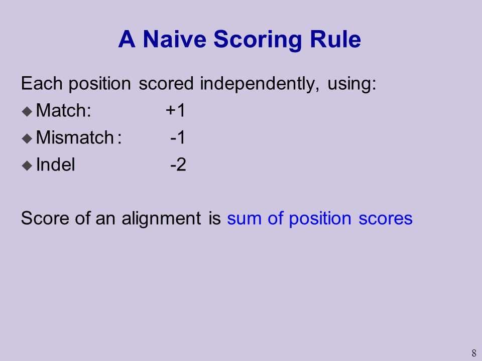 A Naive Scoring Rule Each position scored independently, using: