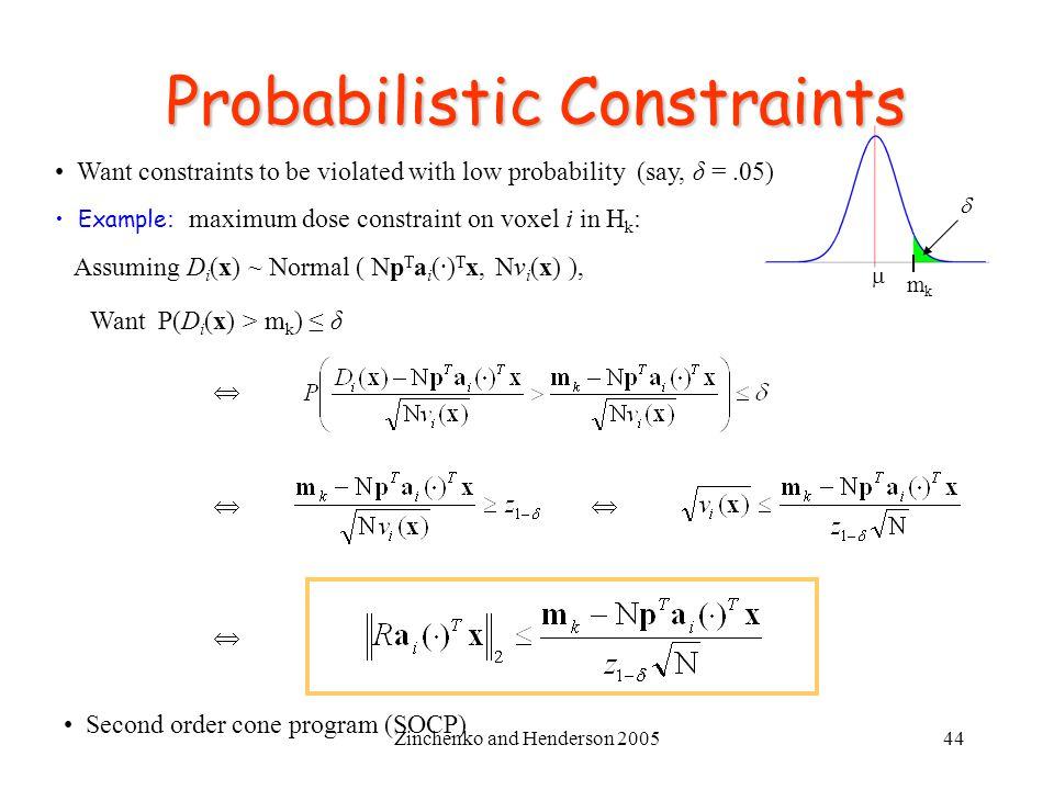 Probabilistic Constraints