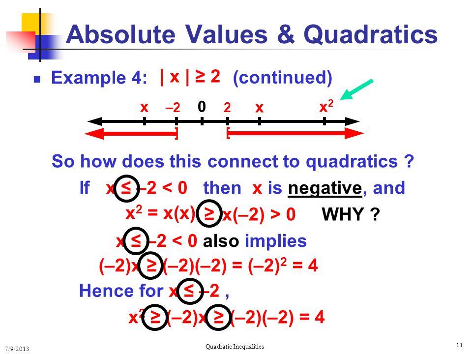 Absolute Values & Quadratics