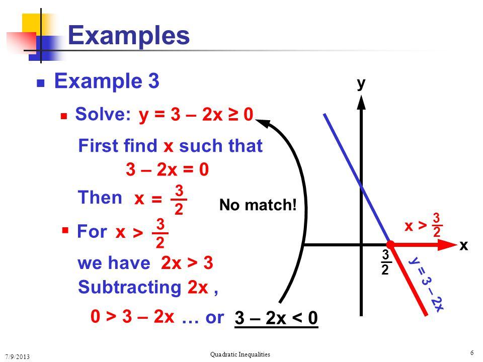 Sovling Quadratic Inequalities