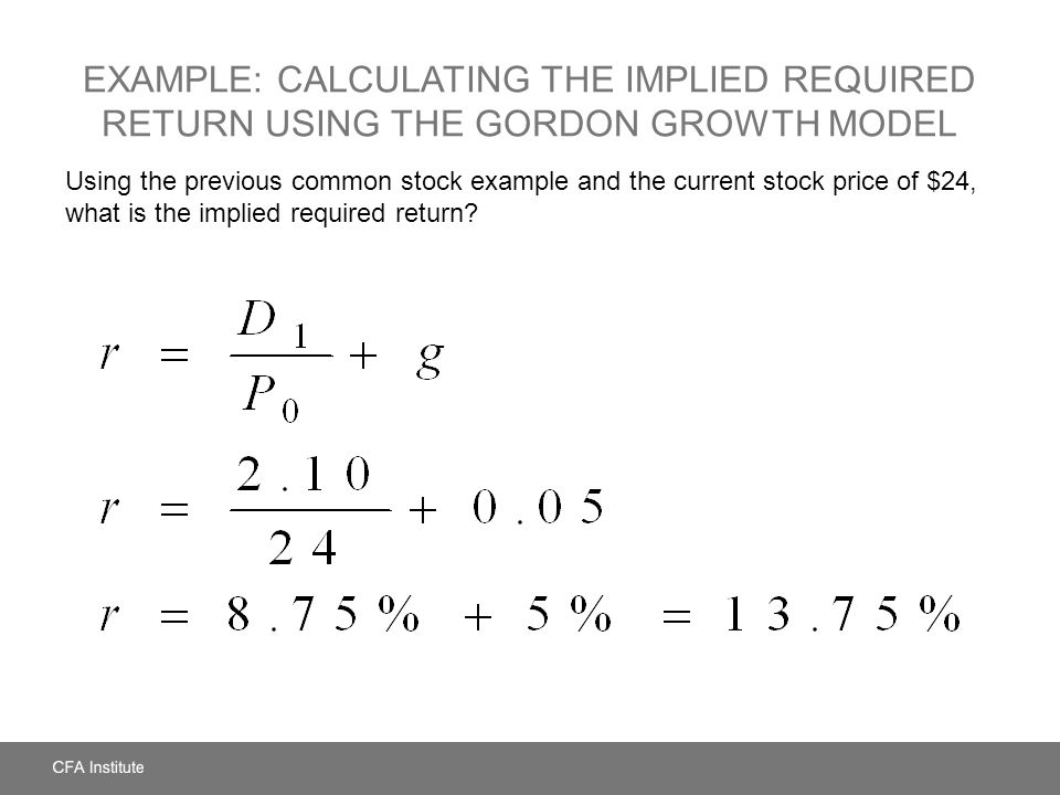 Example: Calculating the Implied Required Return Using the Gordon Growth Model