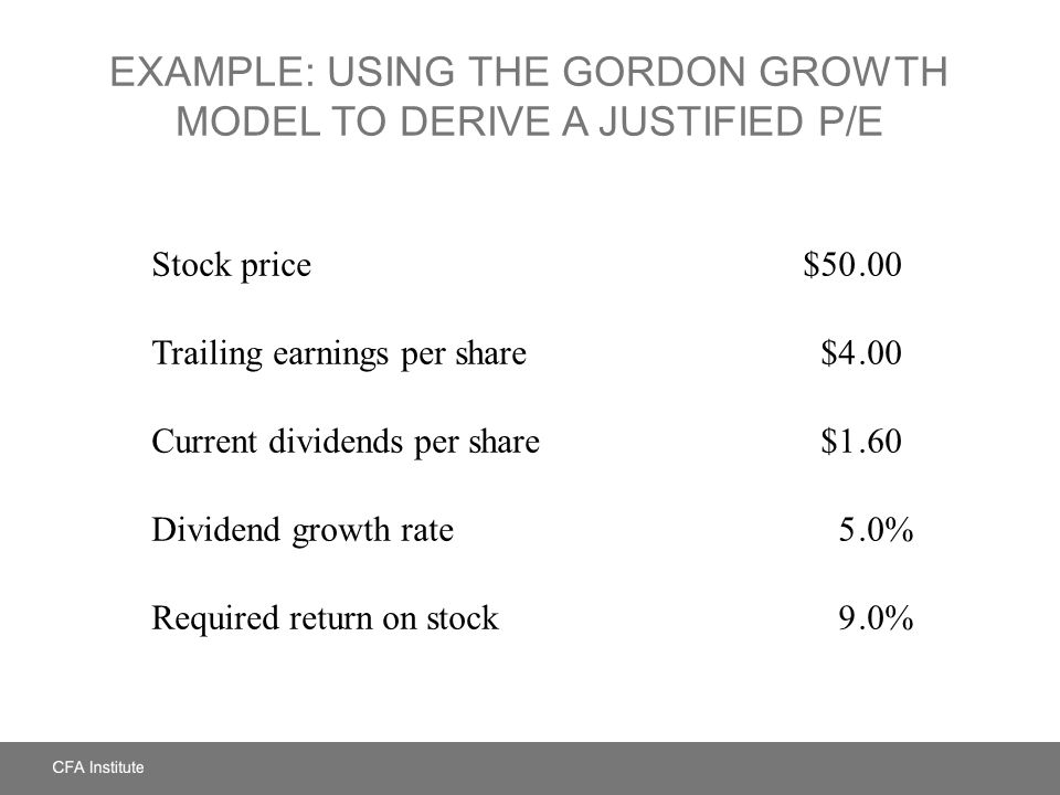 Example: Using the Gordon Growth Model to Derive a Justified P/E