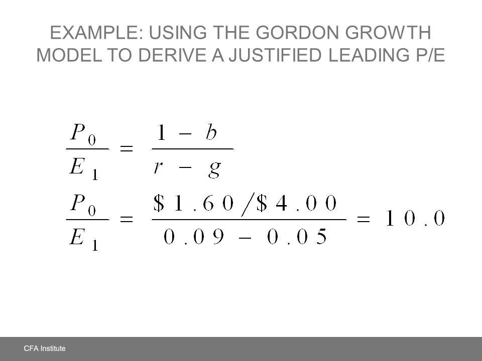 Example: Using the Gordon Growth Model to Derive a Justified Leading P/E
