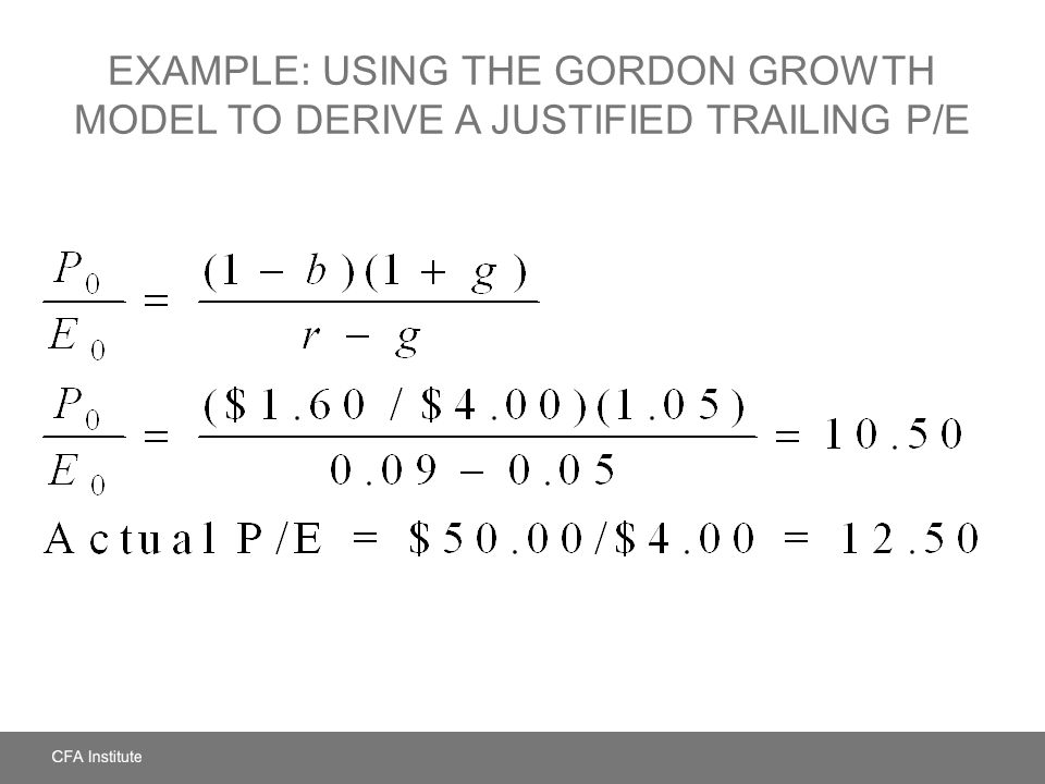 Example: Using the Gordon Growth Model to Derive a Justified Trailing P/E