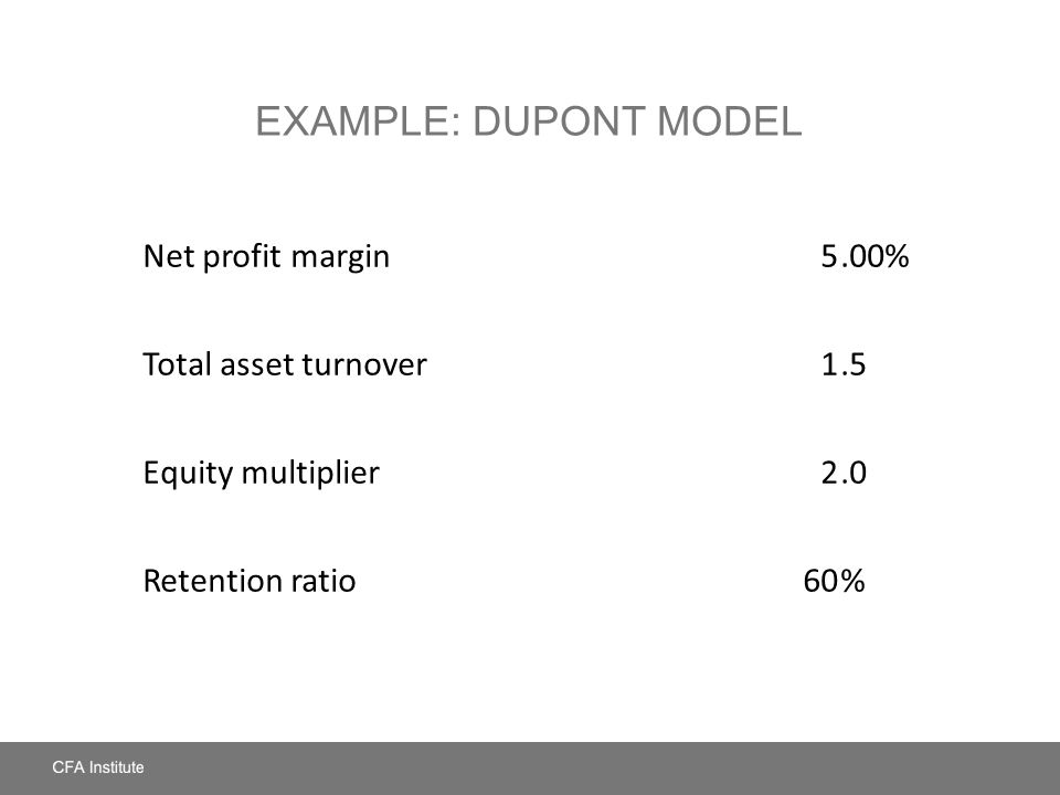 Example: DuPont Model Net profit margin 5 .00% Total asset turnover 1