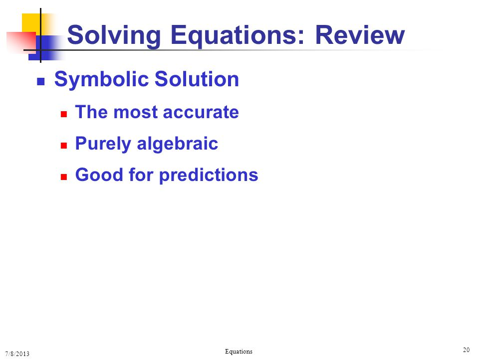 Solving Equations: Review