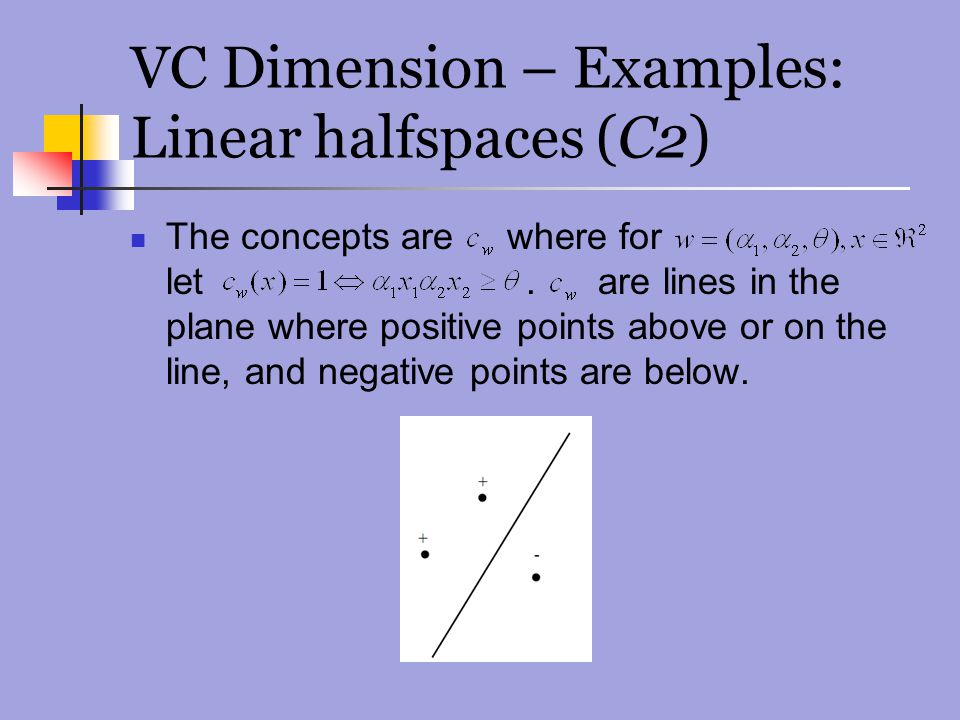 VC Dimension – Examples: Linear halfspaces (C2)