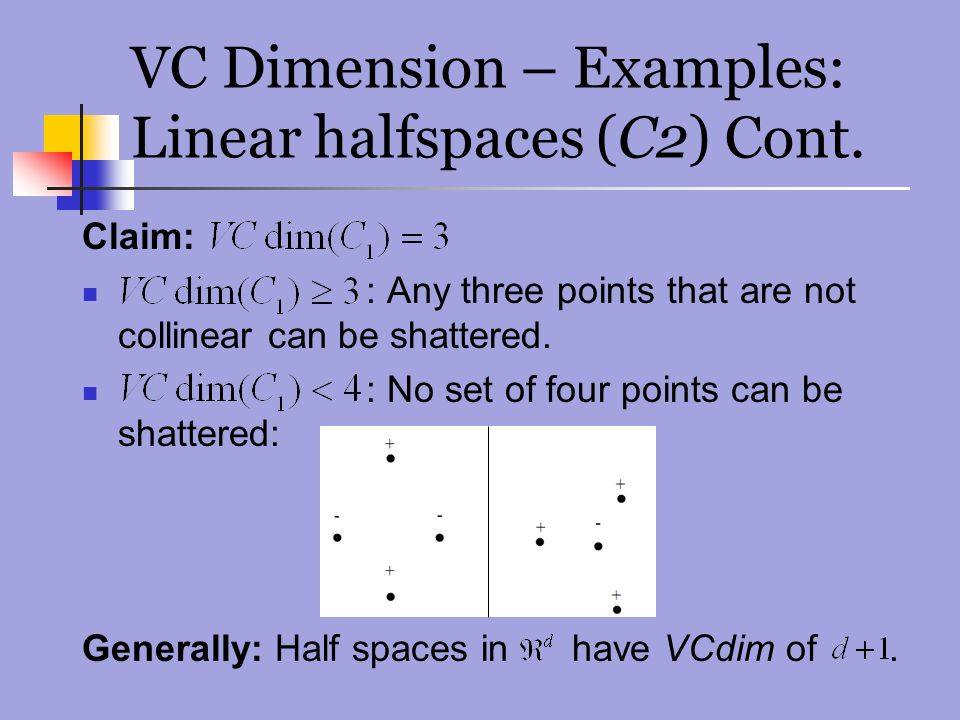 VC Dimension – Examples: Linear halfspaces (C2) Cont.