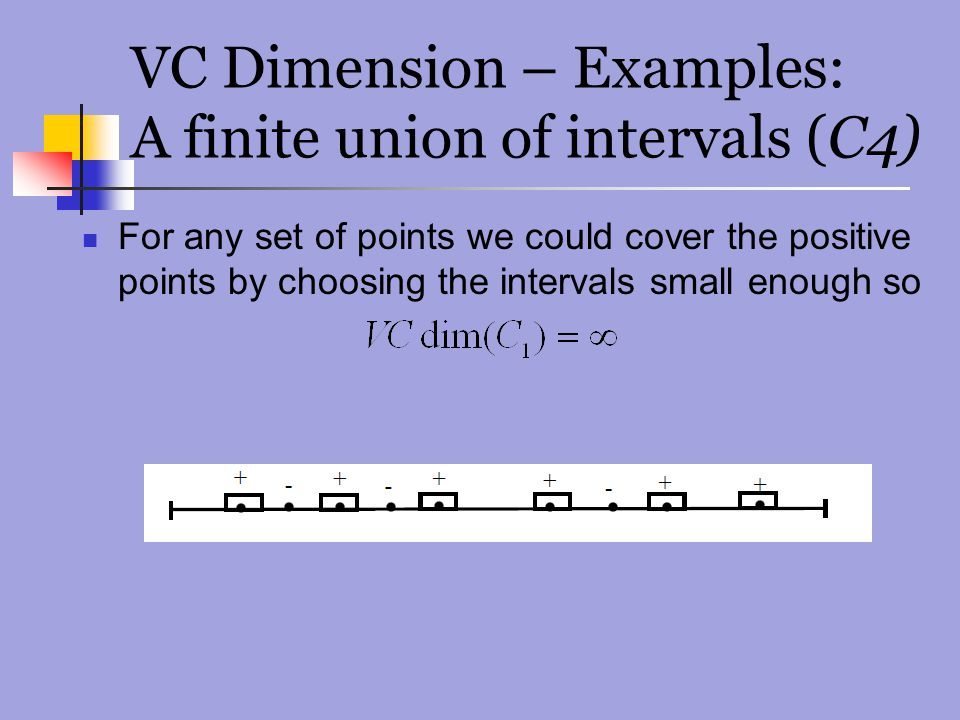 VC Dimension – Examples: A finite union of intervals (C4)