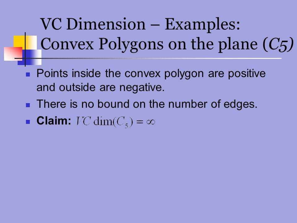 VC Dimension – Examples: Convex Polygons on the plane (C5)