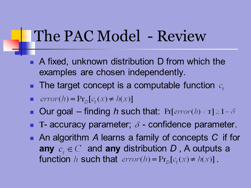 The PAC Model - Review A fixed, unknown distribution D from which the examples are chosen independently.