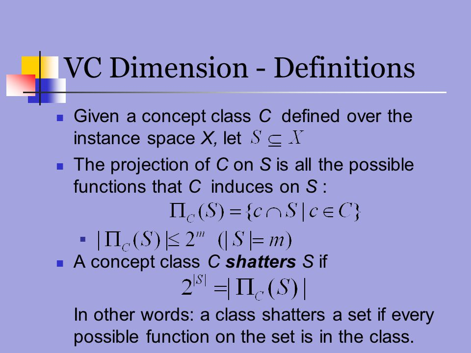 VC Dimension - Definitions