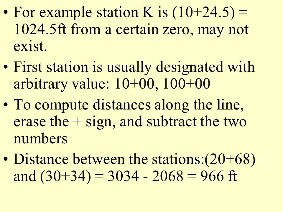 For example station K is (10+24. 5) = 1024