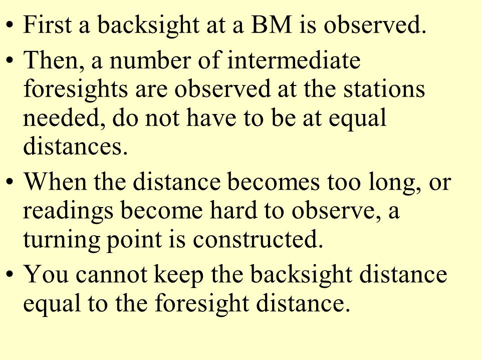 First a backsight at a BM is observed.