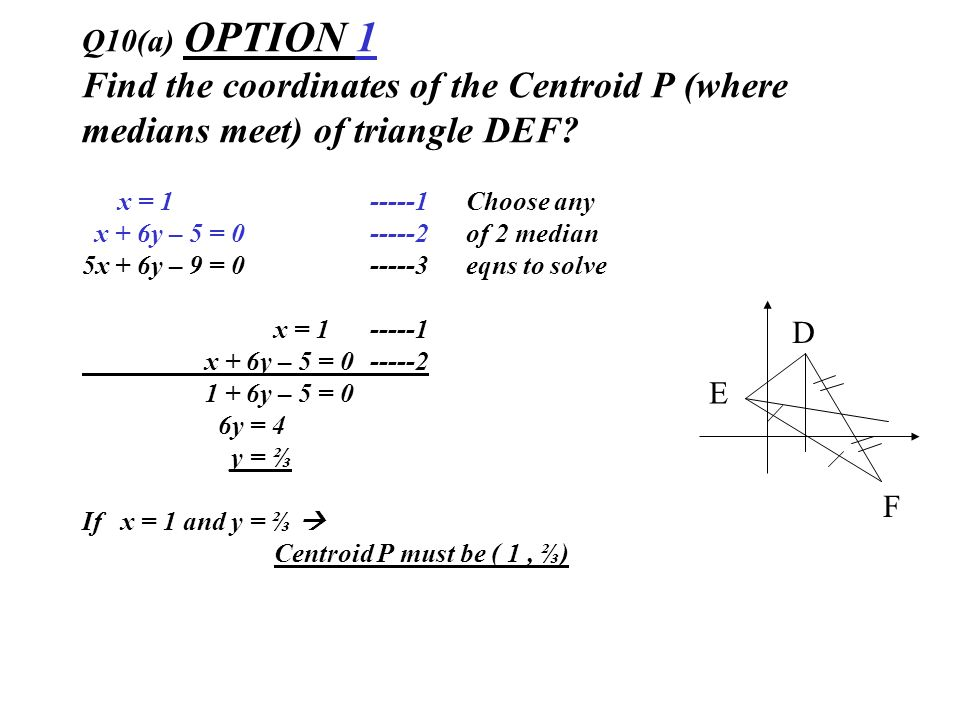 Q10(a) OPTION 1 Find the coordinates of the Centroid P (where medians meet) of triangle DEF