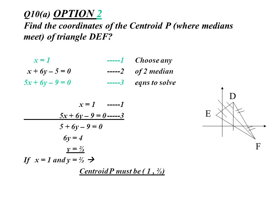 Q10(a) OPTION 2 Find the coordinates of the Centroid P (where medians meet) of triangle DEF