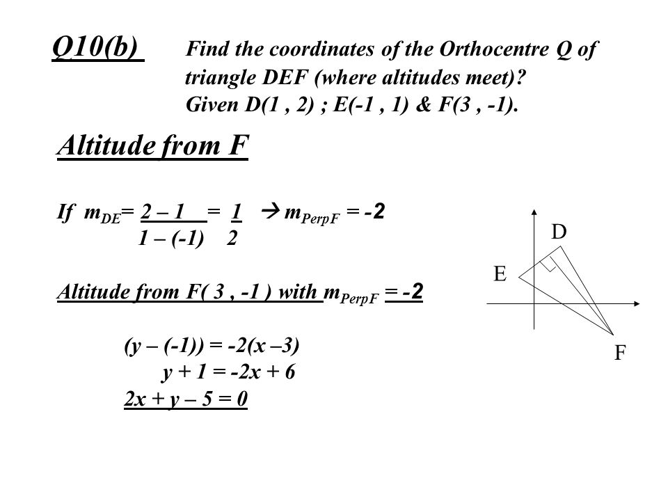 Q10(b). Find the coordinates of the Orthocentre Q of