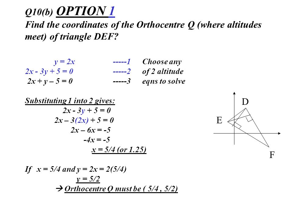 Q10(b) OPTION 1 Find the coordinates of the Orthocentre Q (where altitudes meet) of triangle DEF