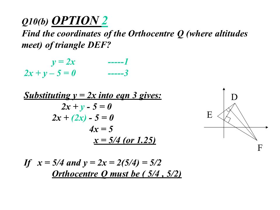 Q10(b) OPTION 2 Find the coordinates of the Orthocentre Q (where altitudes meet) of triangle DEF