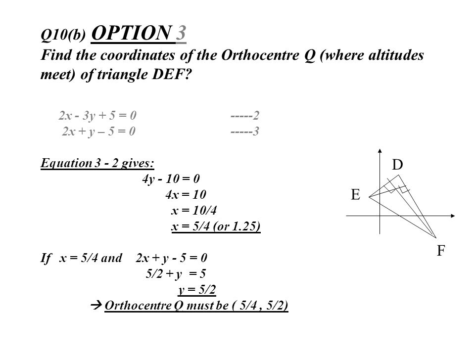 Q10(b) OPTION 3 Find the coordinates of the Orthocentre Q (where altitudes meet) of triangle DEF