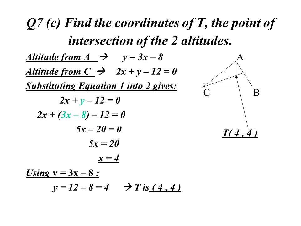 Q7 (c) Find the coordinates of T, the point of intersection of the 2 altitudes.