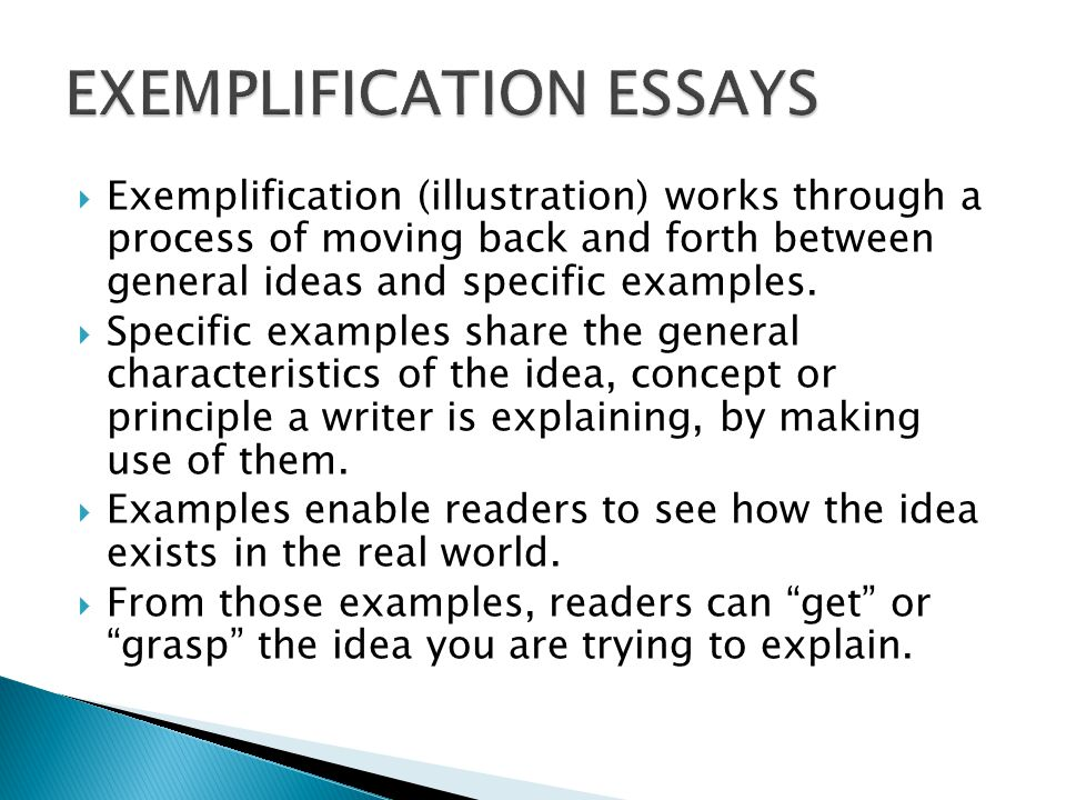 define exemplification essay Free exemplification essays papers, essays, and research papers.