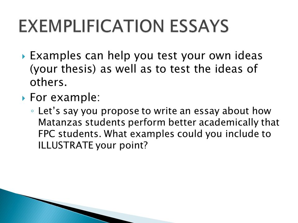 Example of an exemplification essay