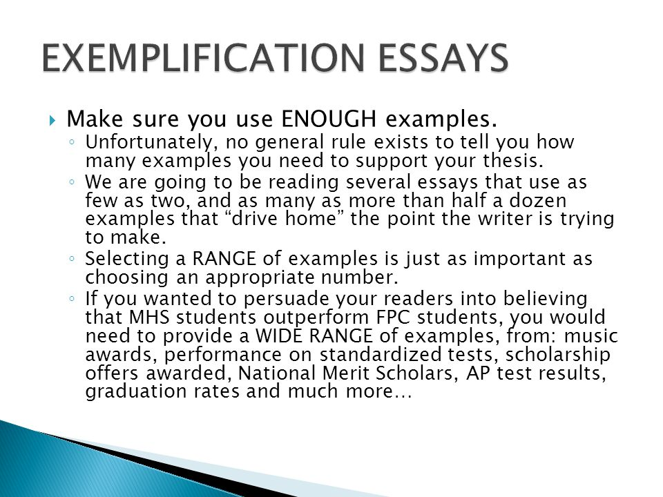 exemplification essay Iscover how to write an exemplification essay and learn the basics of choosing topics, great titles, creating great structures, brainstorming, and planning start here.