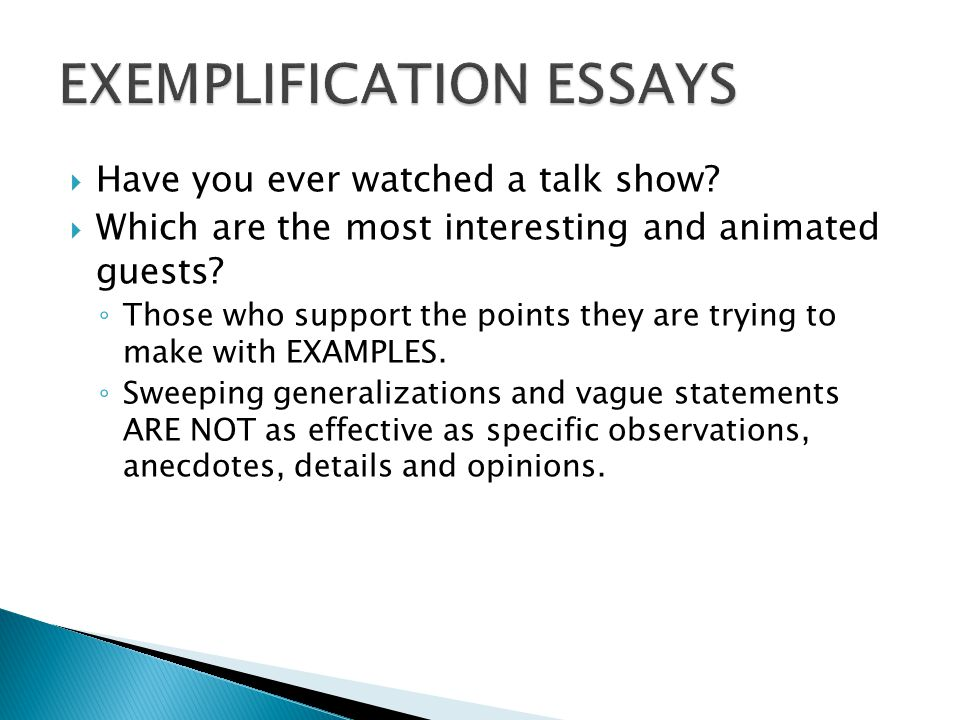 Topics For Exemplification Essay