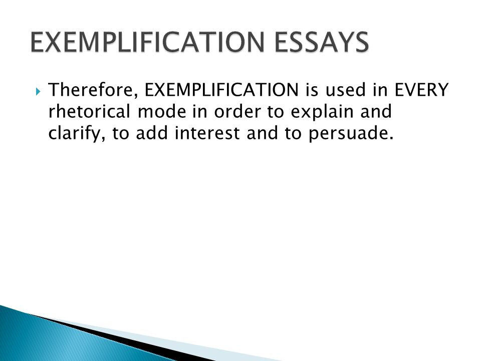EXEMPLIFICATION ESSAYS
