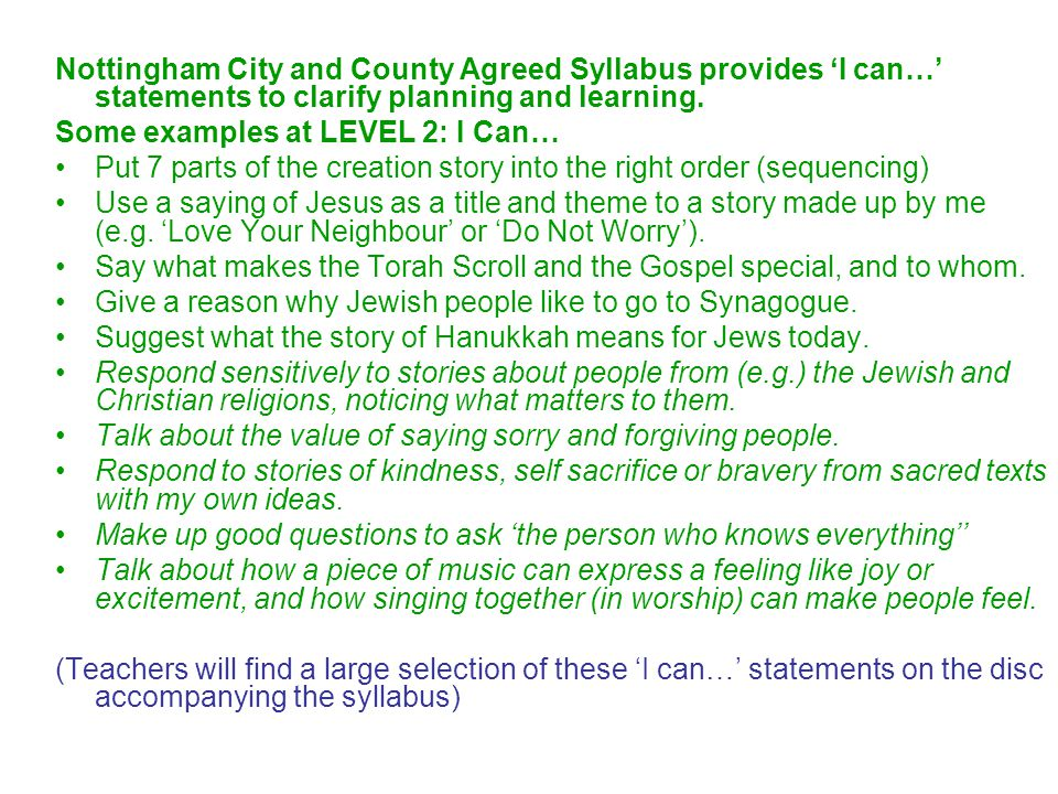 Nottingham City and County Agreed Syllabus provides 'I can…' statements to clarify planning and learning.