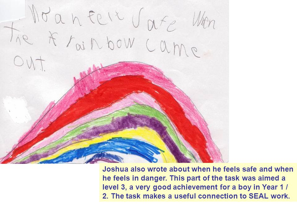Joshua also wrote about when he feels safe and when he feels in danger