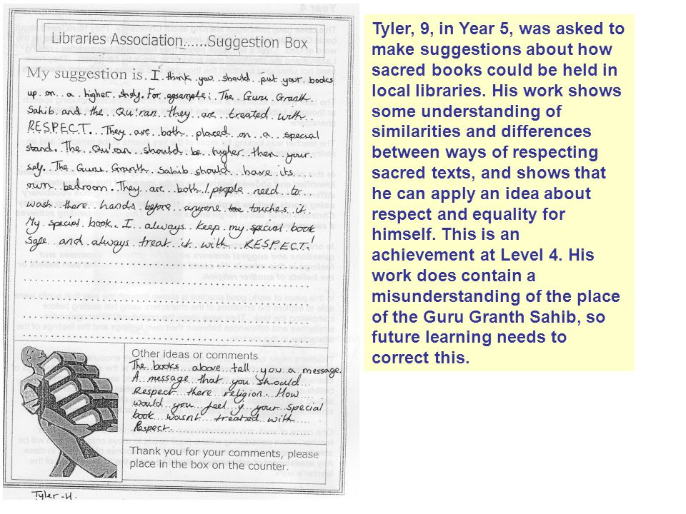 Tyler, 9, in Year 5, was asked to make suggestions about how sacred books could be held in local libraries.