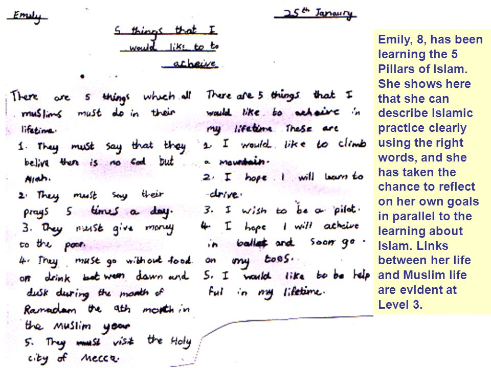 Emily, 8, has been learning the 5 Pillars of Islam