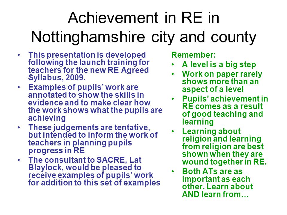 Achievement in RE in Nottinghamshire city and county