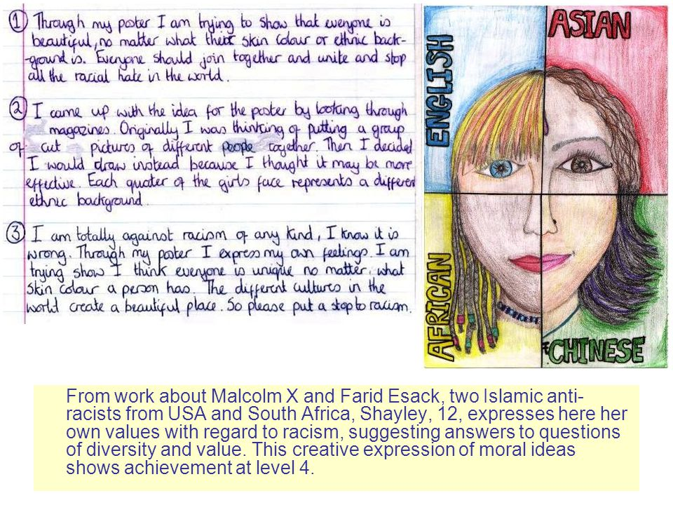 From work about Malcolm X and Farid Esack, two Islamic anti-racists from USA and South Africa, Shayley, 12, expresses here her own values with regard to racism, suggesting answers to questions of diversity and value.