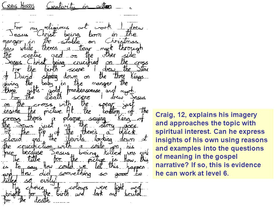 Craig, 12, explains his imagery and approaches the topic with spiritual interest.