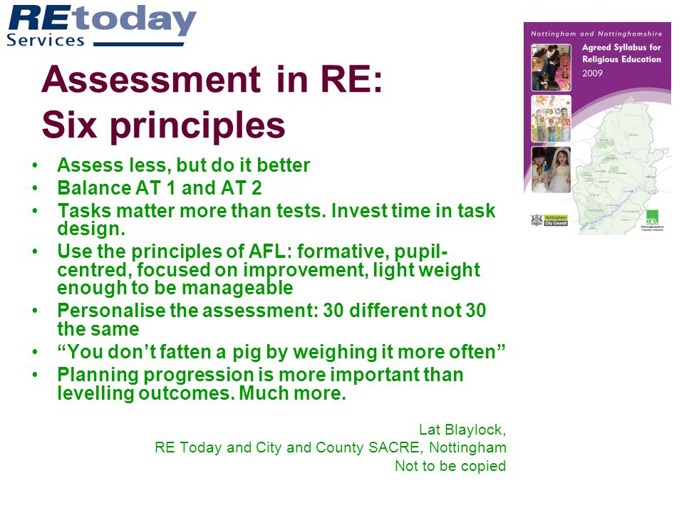 Assessment in RE: Six principles
