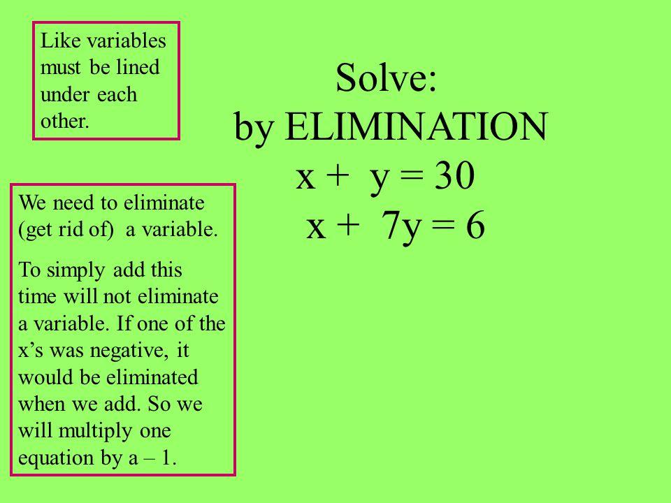 Solve: by ELIMINATION x + y = 30 x + 7y = 6