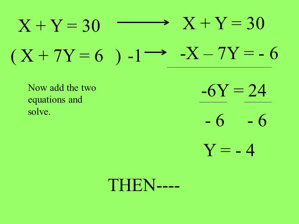 X + Y = 30 X + Y = 30 -X – 7Y = - 6 ( X + 7Y = 6 ) -1 -6Y = 24 - 6 - 6