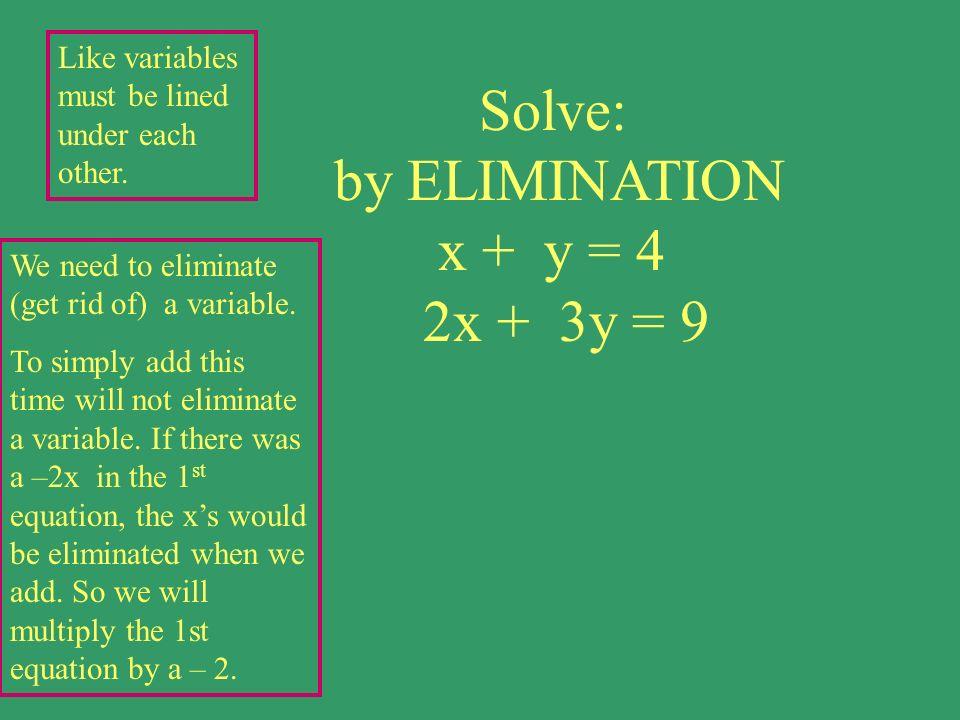 Solve: by ELIMINATION x + y = 4 2x + 3y = 9