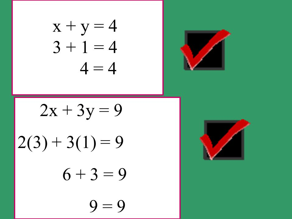 x + y = 4 3 + 1 = 4 4 = 4 2x + 3y = 9 2(3) + 3(1) = 9 6 + 3 = 9 9 = 9