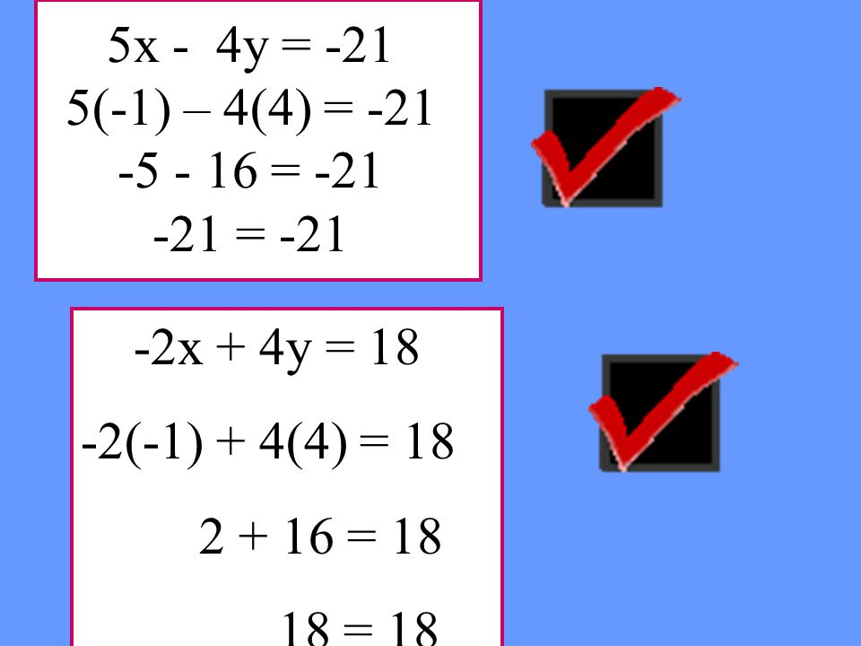 5x - 4y = -21 5(-1) – 4(4) = -21 -5 - 16 = -21 -21 = -21