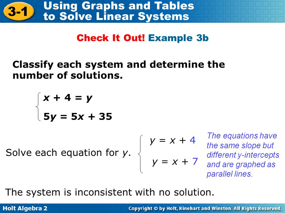 Classify each system and determine the number of solutions.