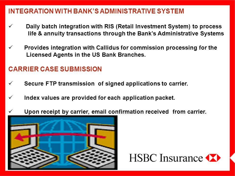 INTEGRATION WITH BANK'S ADMINISTRATIVE SYSTEM