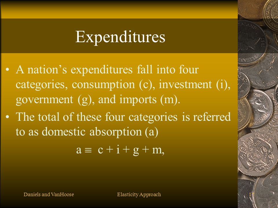 Expenditures A nation's expenditures fall into four categories, consumption (c), investment (i), government (g), and imports (m).