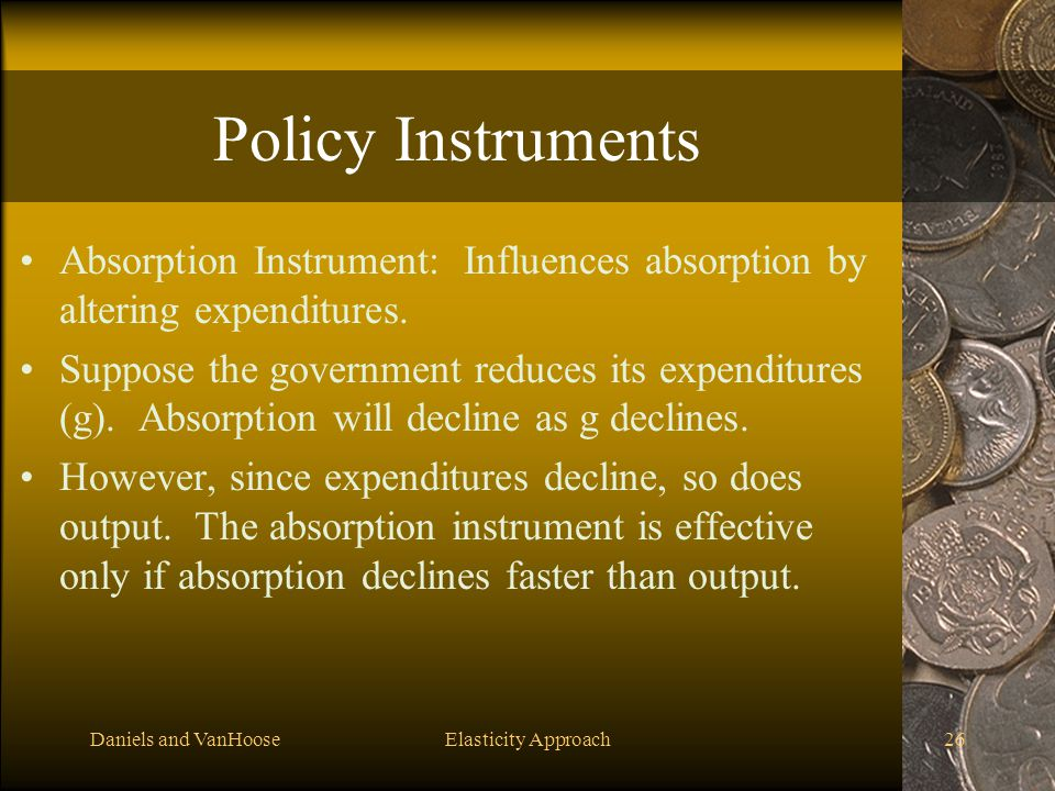 Policy Instruments Absorption Instrument: Influences absorption by altering expenditures.