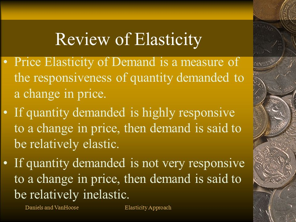 Review of Elasticity Price Elasticity of Demand is a measure of the responsiveness of quantity demanded to a change in price.