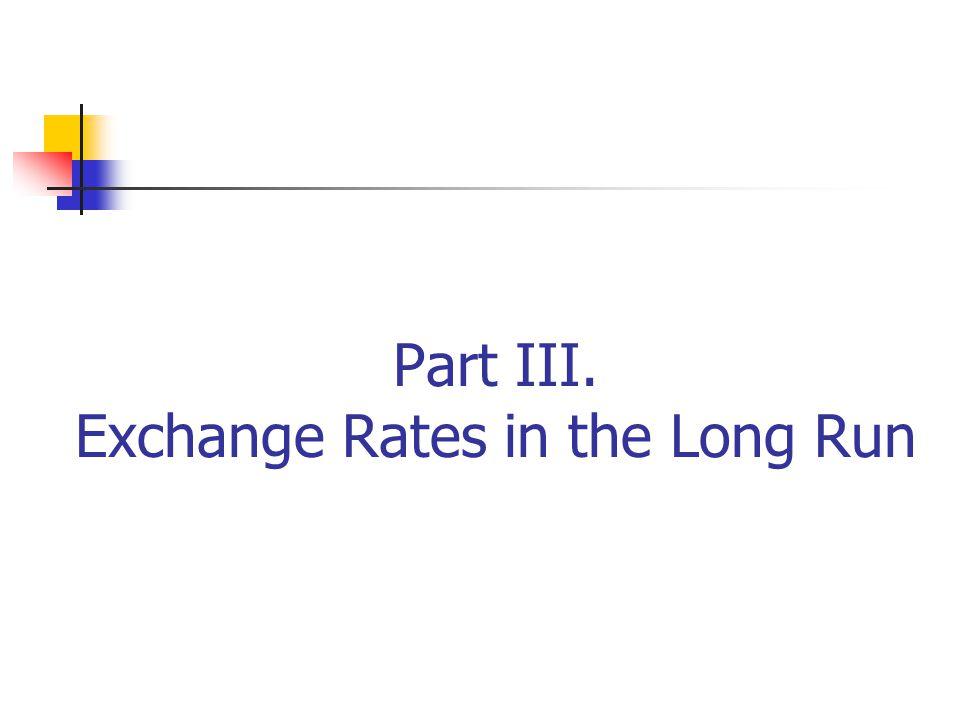 Part III. Exchange Rates in the Long Run