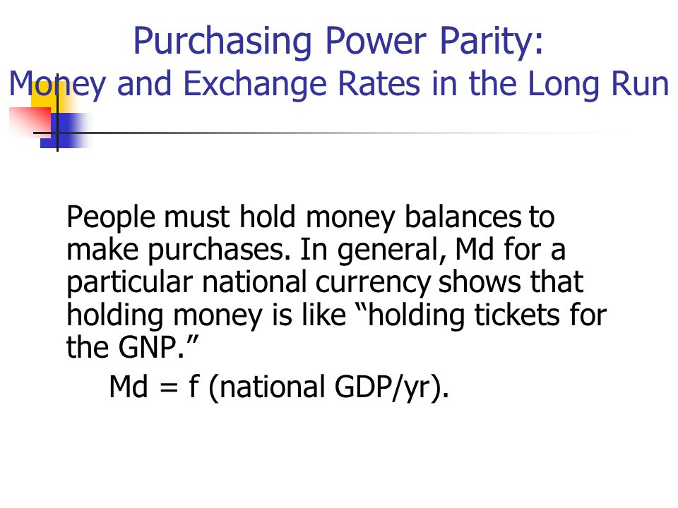 Purchasing Power Parity: Money and Exchange Rates in the Long Run